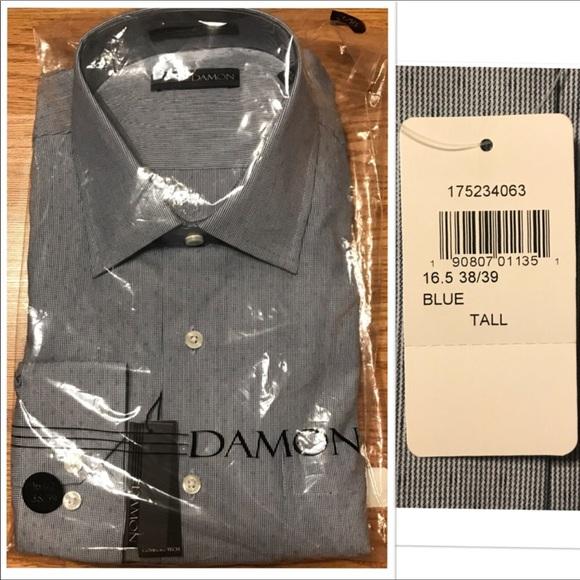 36ee95ea2 Damon Shirts | Nwt Dark Blue Dotted Tall Dress Shirt N 165 | Poshmark